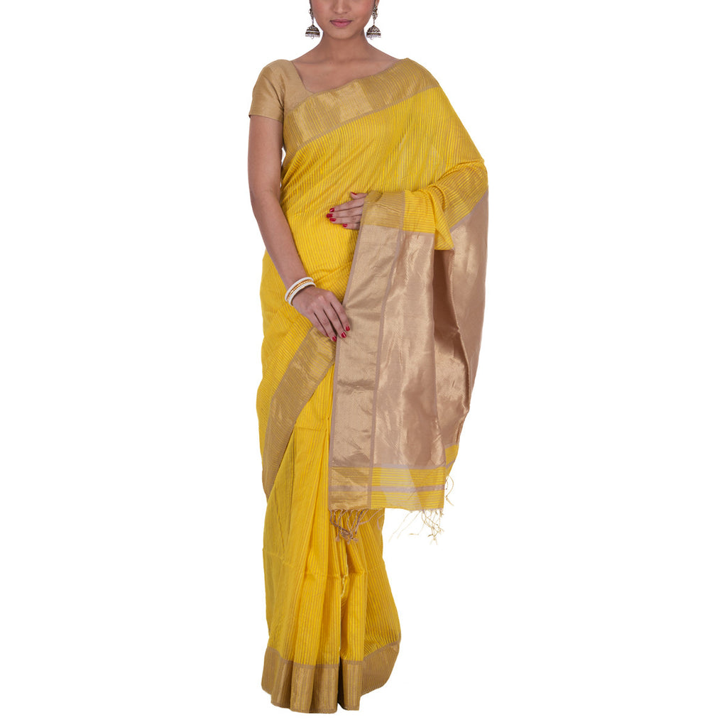 Maheshwari Handloom Cotton Silk Saree with Blouse 16