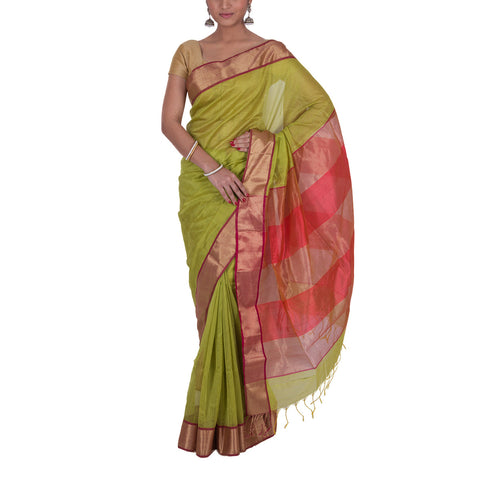 Maheshwari Handloom Cotton Silk Saree with Blouse 12