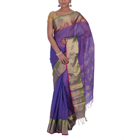 Maheshwari Handloom Cotton Silk Saree with Blouse 14