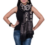 Black Coloured Ajrakh Hand Blockprinted Stole in Modal with chain design