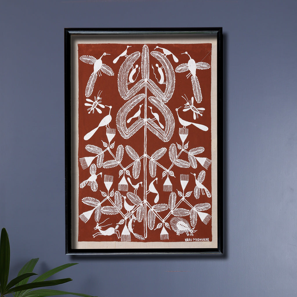Tribal Warli Painting of Peacocks in a Forest by Mukesh Vadu