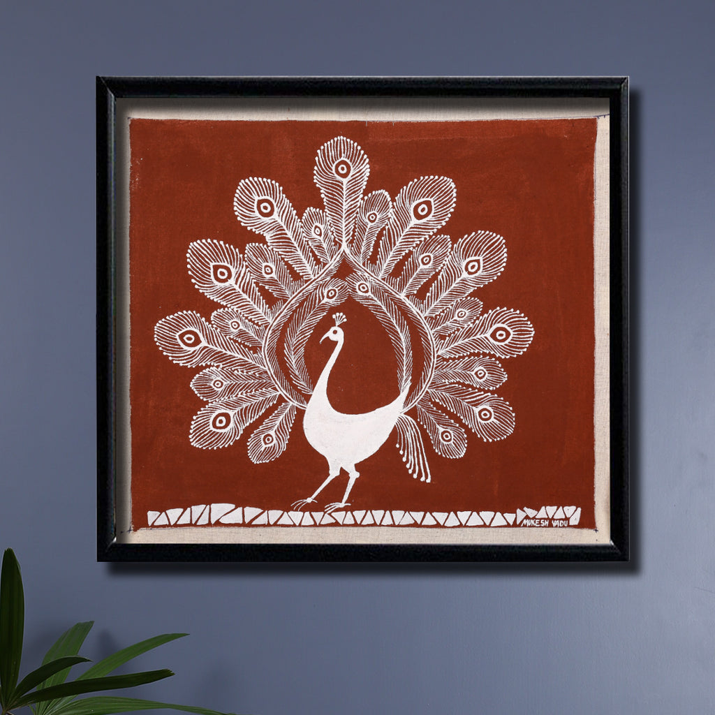 Tribal Warli Painting of a Peacock by Mukesh Vadu