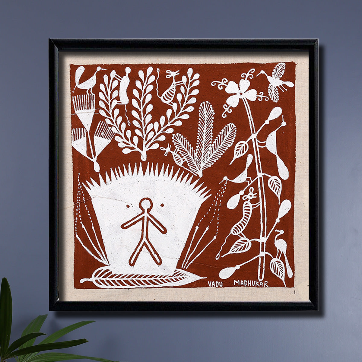 Tribal warli painting of an abstract theme by madhukar vadu india kal hover to zoom thecheapjerseys Image collections