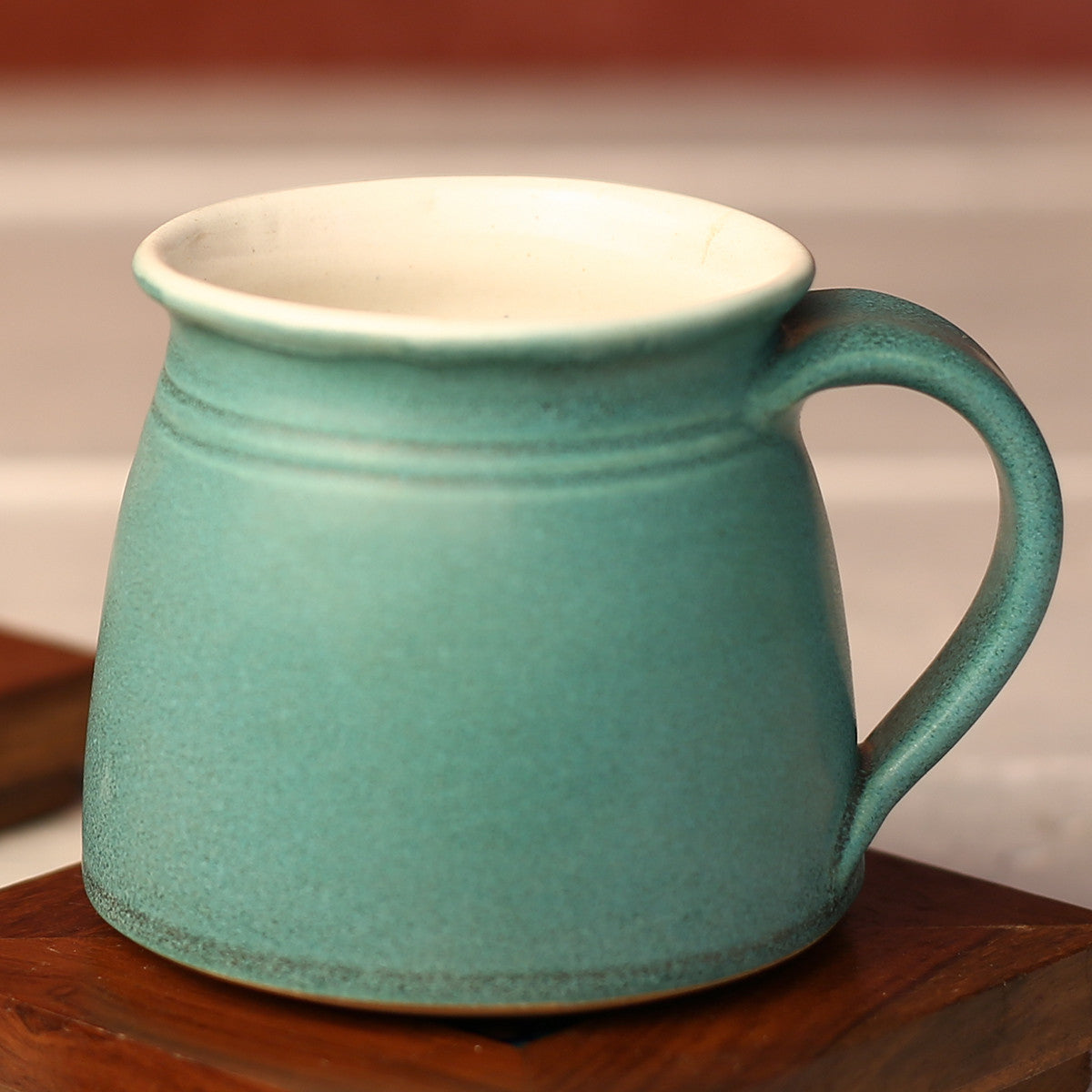 Turquoise Green Handmade Ceramic Cups from Pondicherry - Set of 2