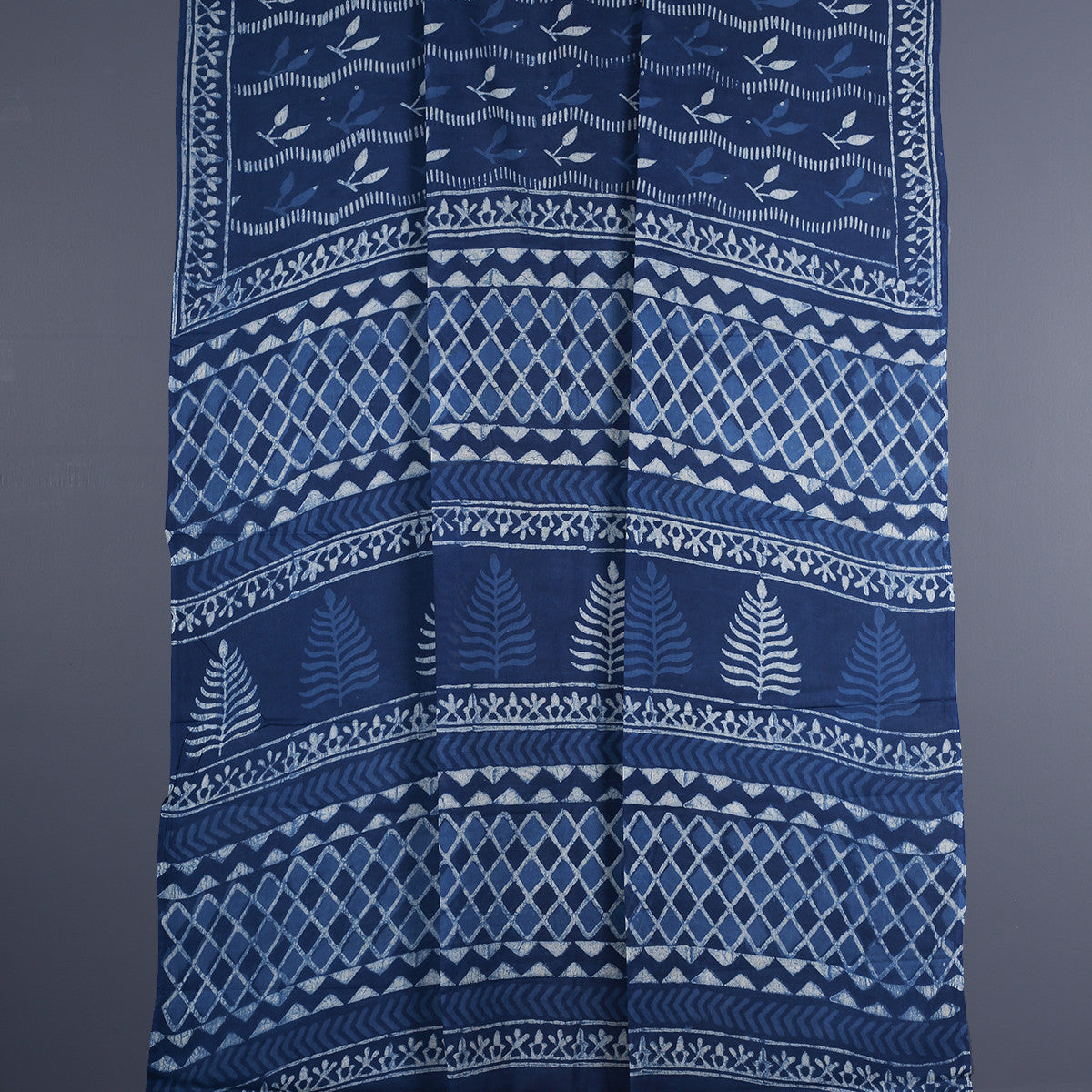 Dabu Hand Block Printed Indigo Cotton Saree with Blouse 14