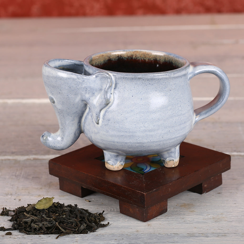 Light Blue Elephant Handmade Ceramic Cup from Auroville