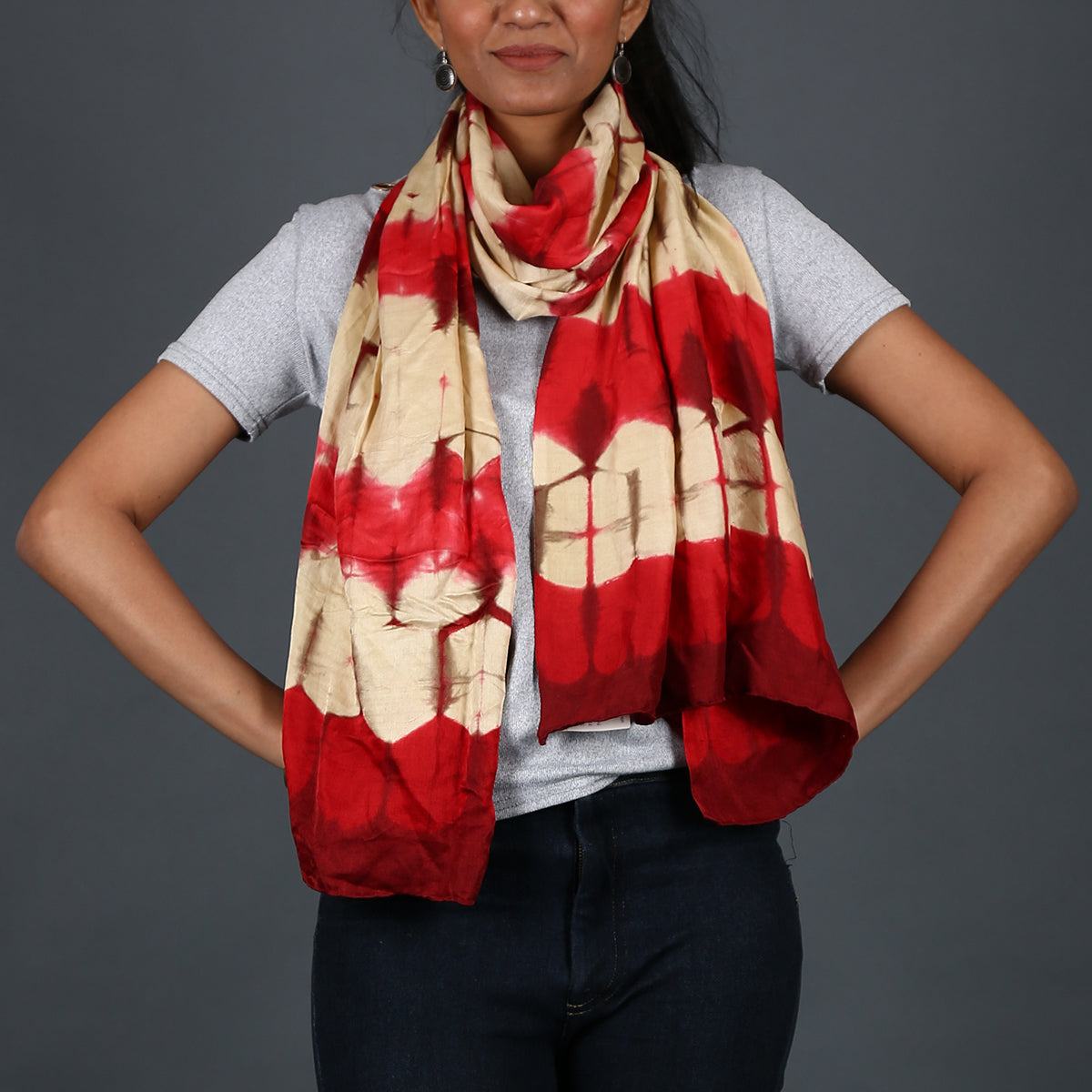 Kutch Tie & Dye Stole in Gajji Silk with Clamp Dye 13