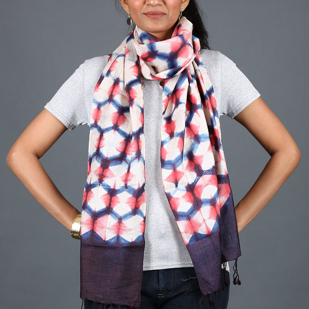 Kutch Tie & Dye Stole in Tusaar Silk with Clamp Dye 8