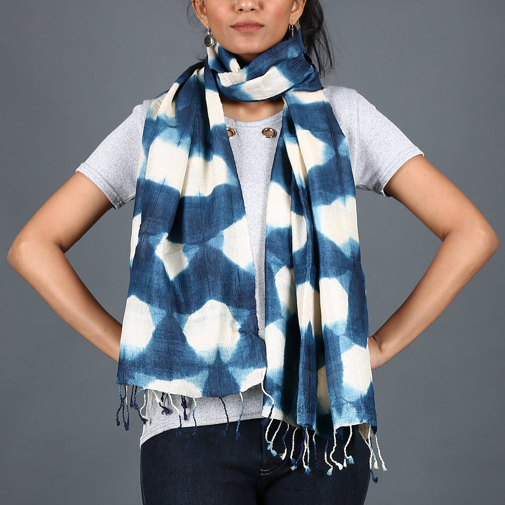 Kutch Tie & Dye Stole in Tussar Silk with Clamp Dye 5
