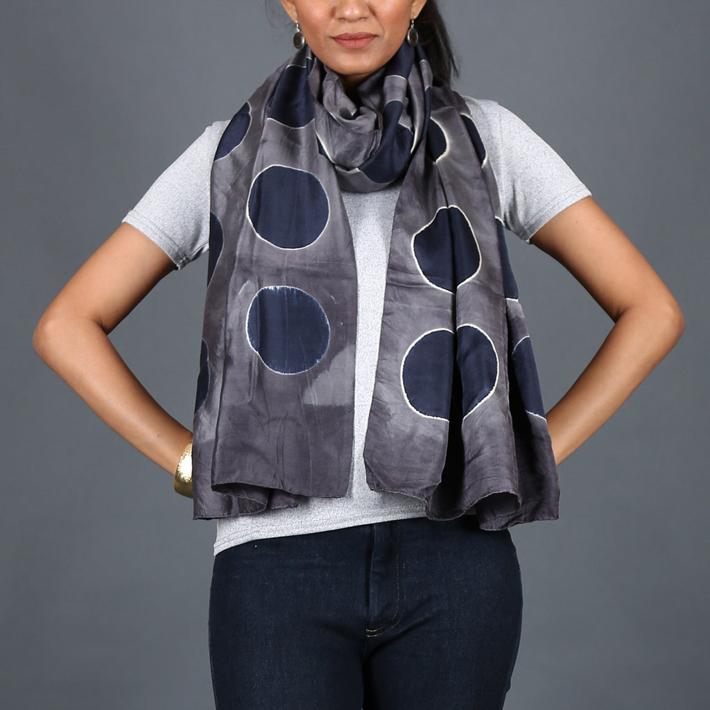 Kutch Tie & Dye Stole in Gajji Silk with Clamp Dye 7