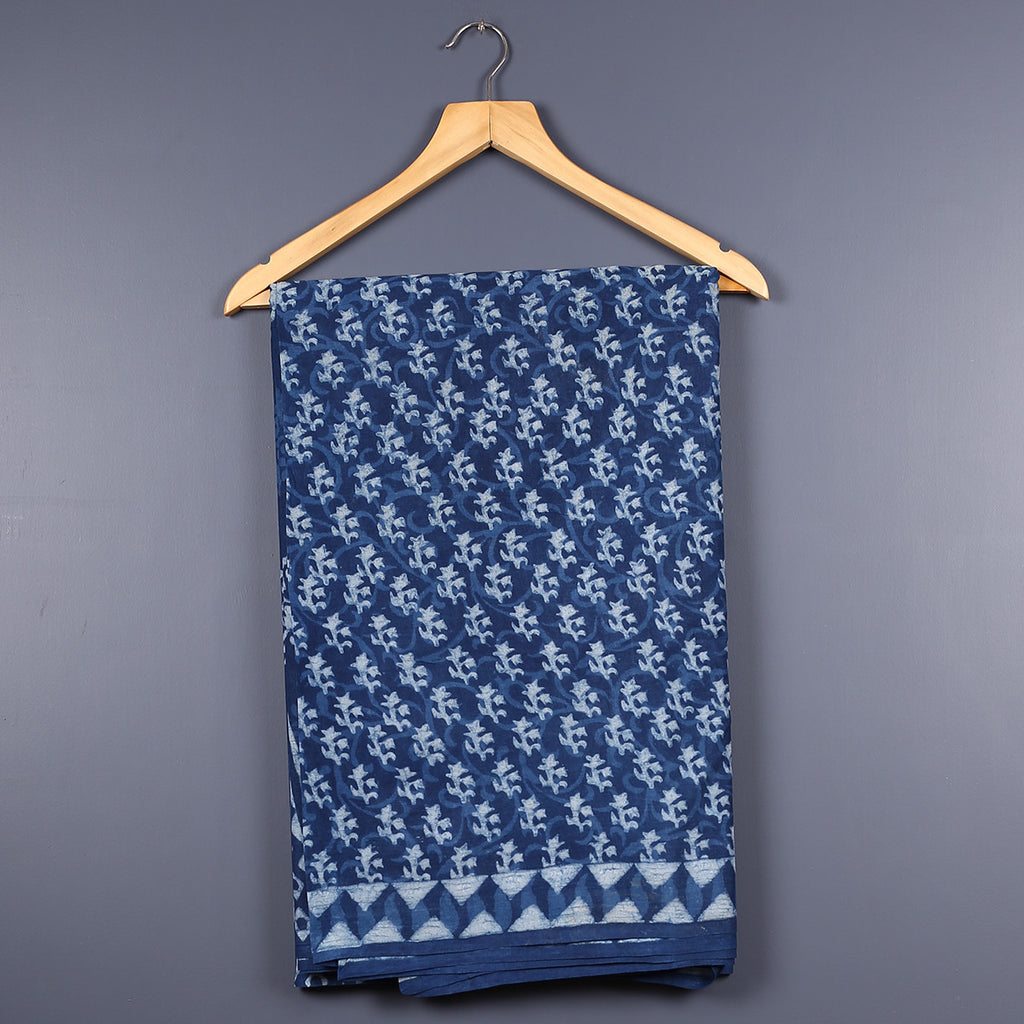 Dabu Hand Block Printed Indigo Cotton Saree with Blouse 11