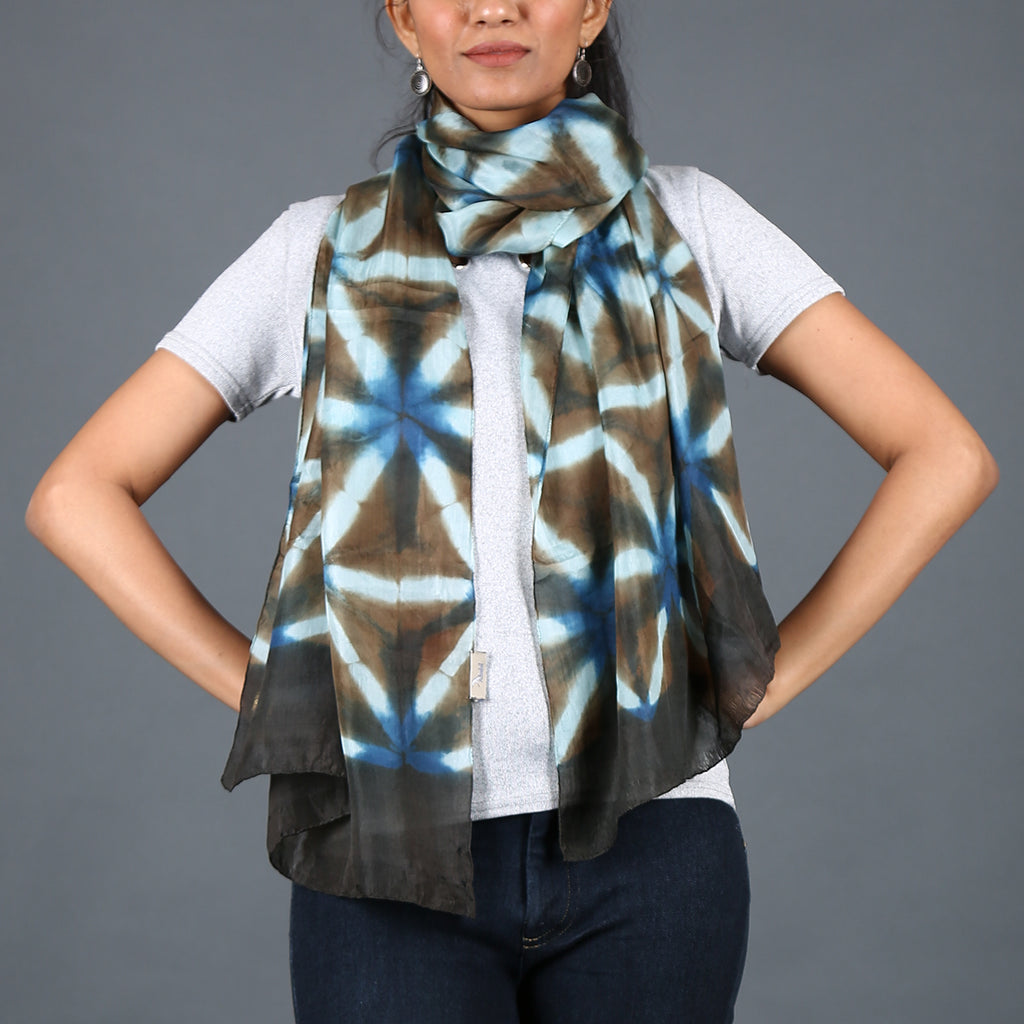Kutch Tie & Dye Stole in Gajji Silk with Clamp Dye 9