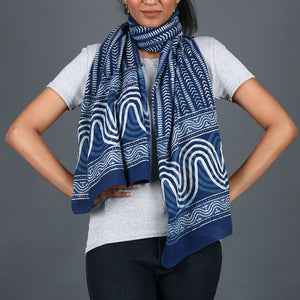 Natural Dyed Hand Block Printed Indigo Dabu Stole in Cotton 3