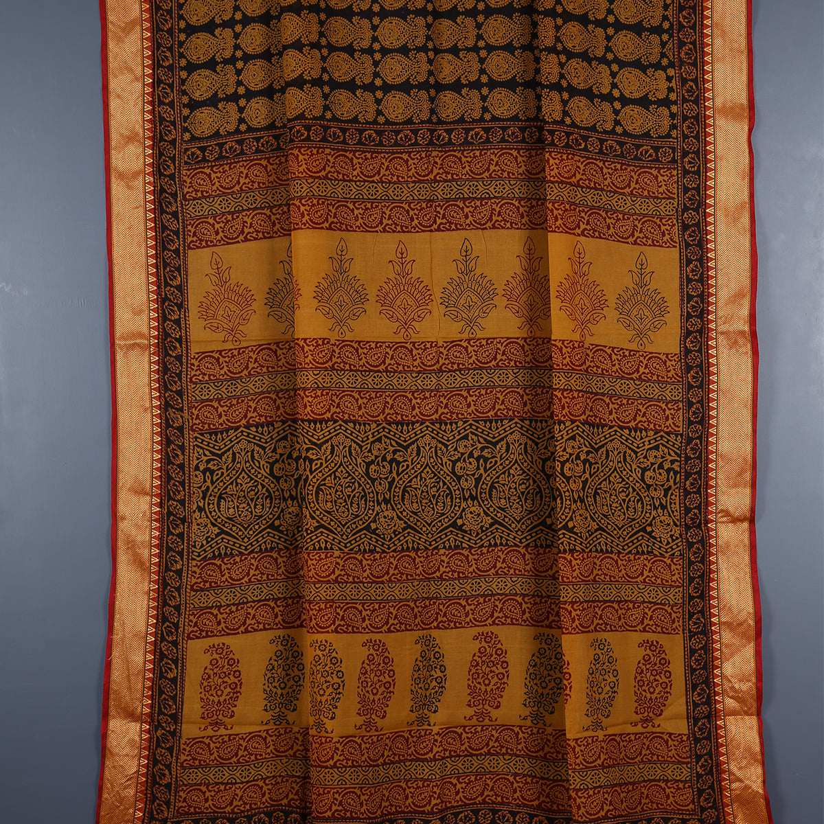Bagh Hand Block Printed Naturally Dyed Golden Border Cotton Saree with Blouse 6
