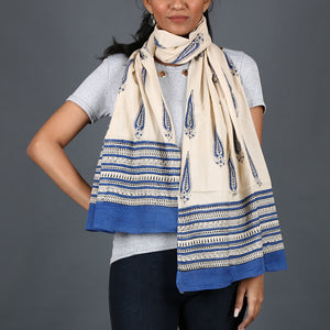 Natural Dyed Hand Block Printed Bagru Stole in Cotton 2