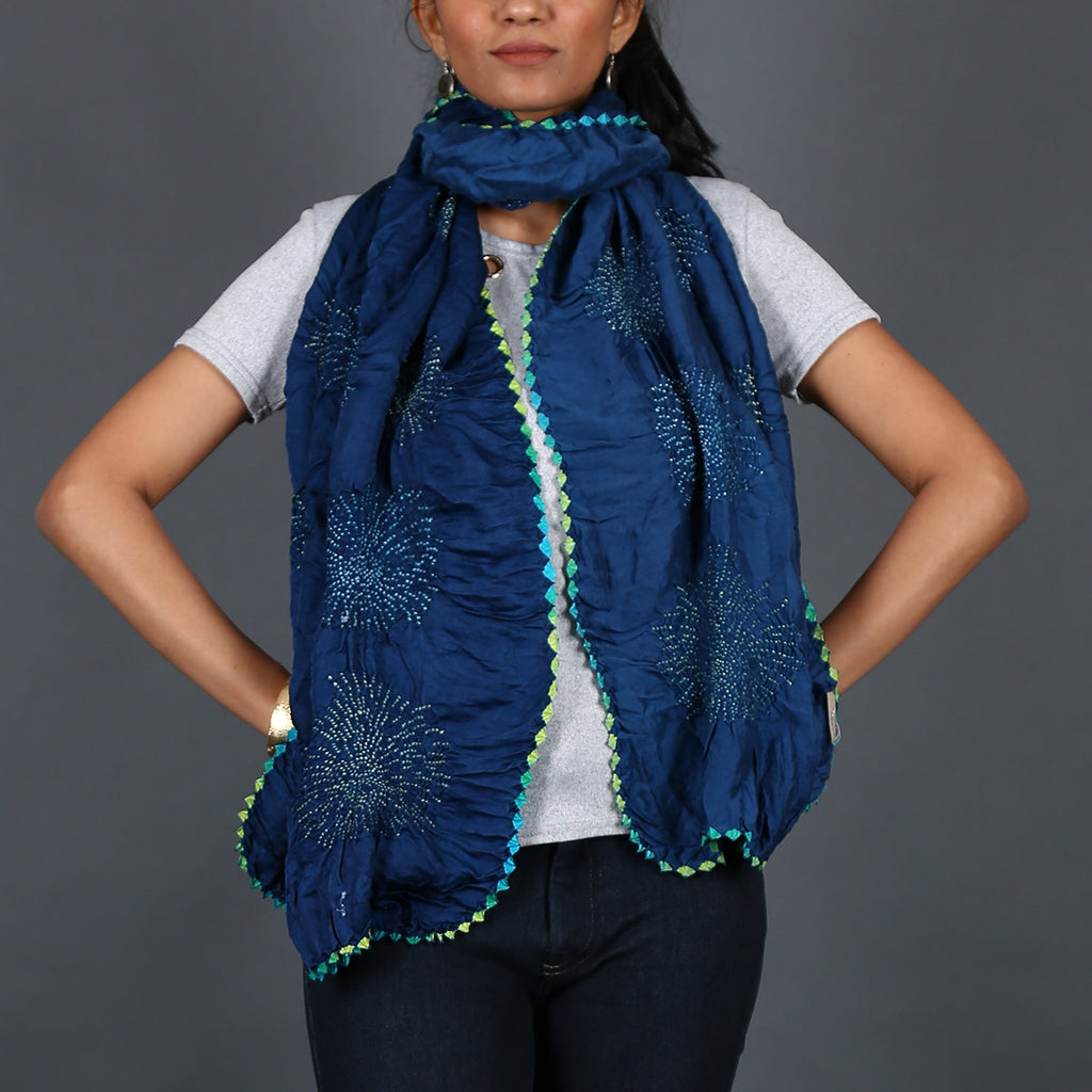 Indigo coloured Kutch Bandhni Stole in Gajji Silk with fireworks design