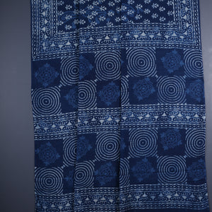 Dabu Hand Block Printed Indigo Cotton Saree with Blouse 7