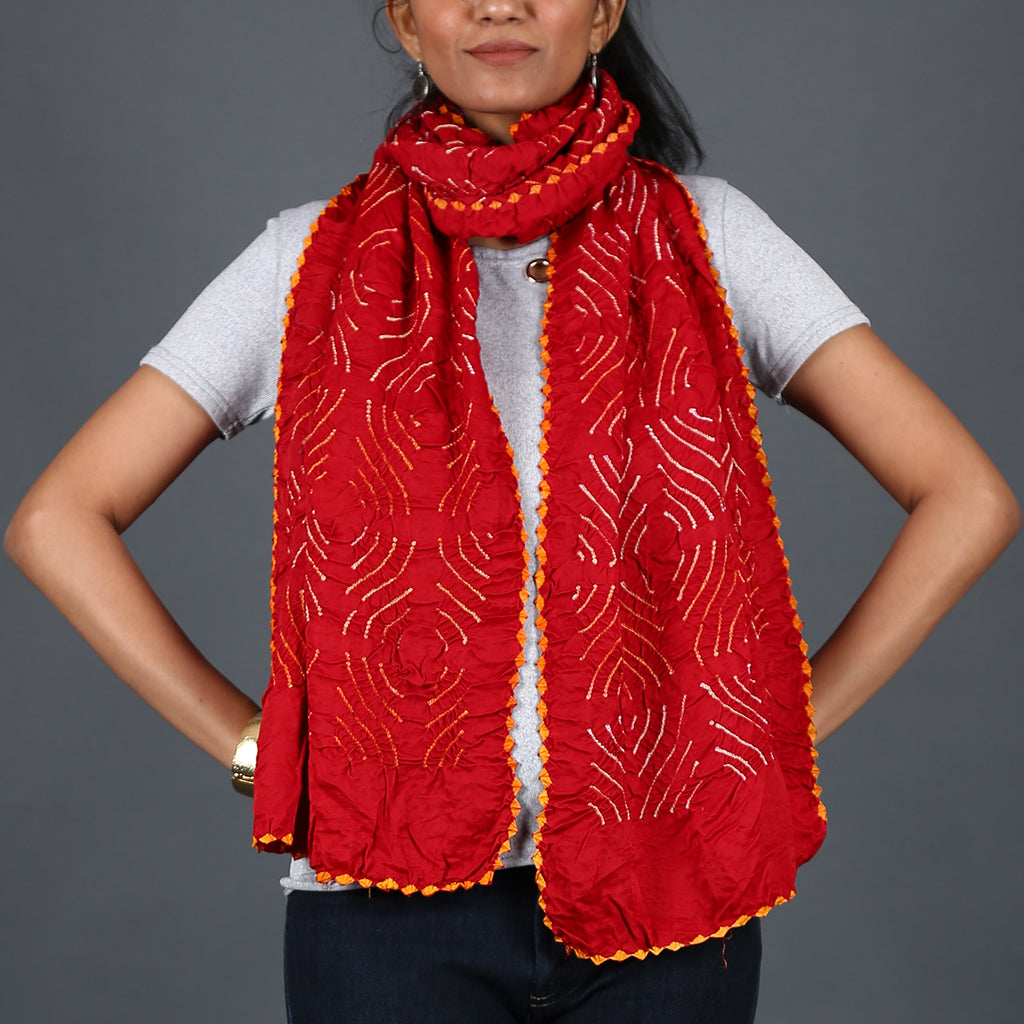 Red coloured Kutch Bandhni Stole in Gajji Silk with pigeon house design
