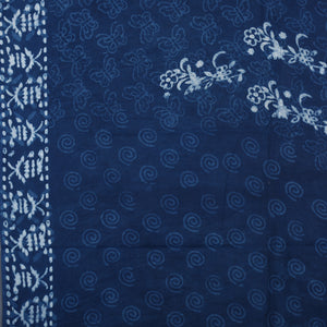 Dabu Hand Block Printed Indigo Cotton Saree with Blouse 29