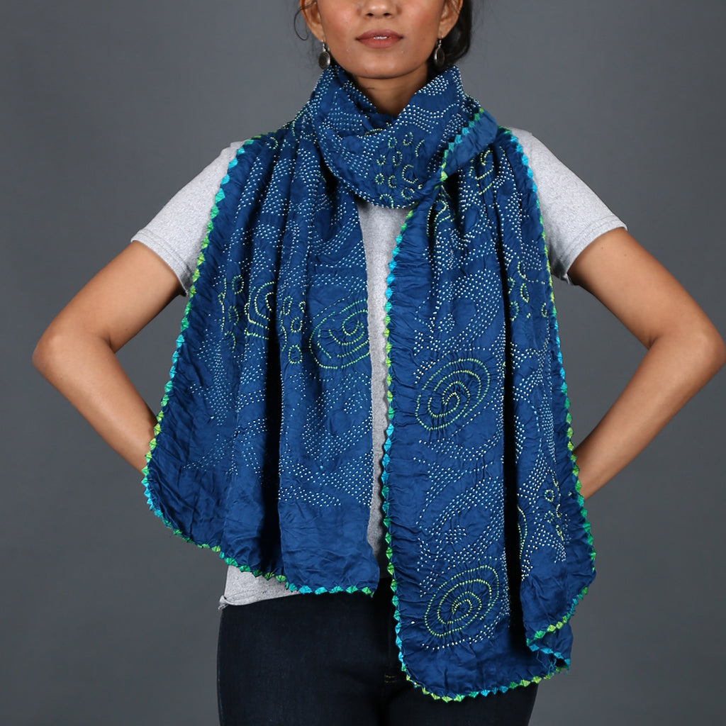 Indigo coloured Kutch Bandhni Stole in Gajji Silk with galaxy design