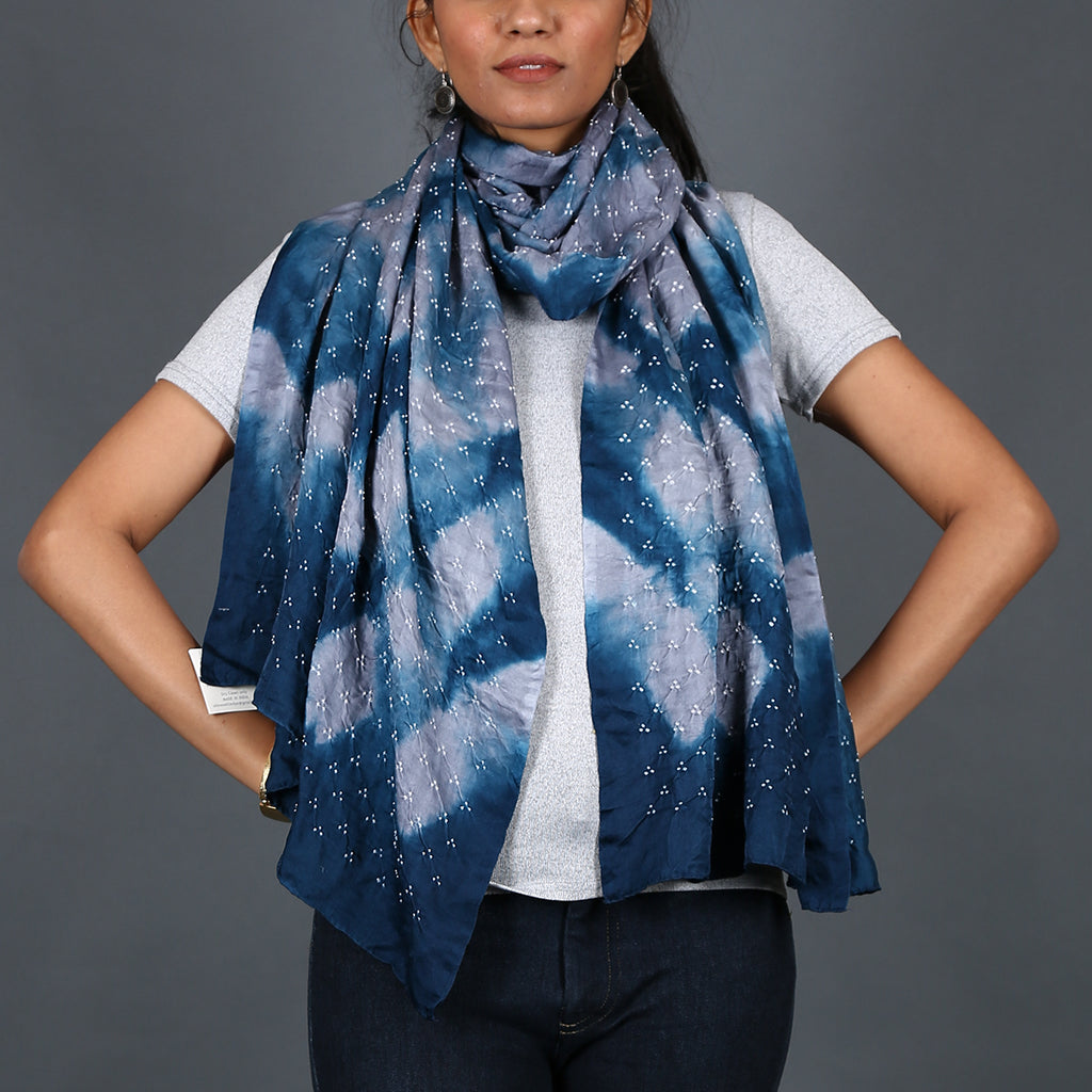 Indigo grey coloured Kutch Bandhni Stole in Gajji Silk with clamp design