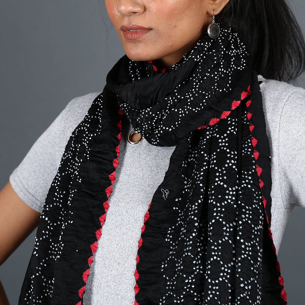 Black coloured Kutch Bandhni Stole in Gajji Silk with honeycomb design