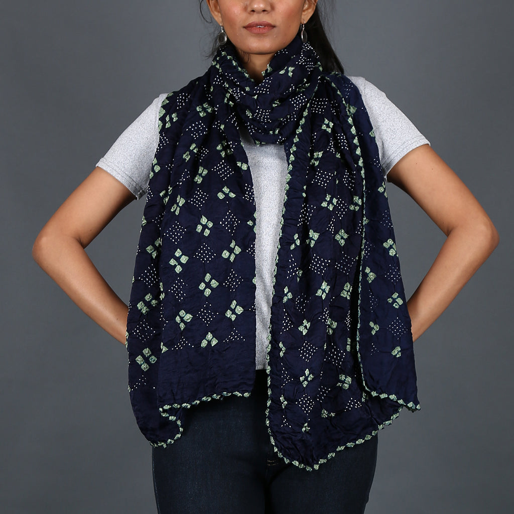 Indigo coloured Kutch Bandhni Stole in Gajji Silk with green knots