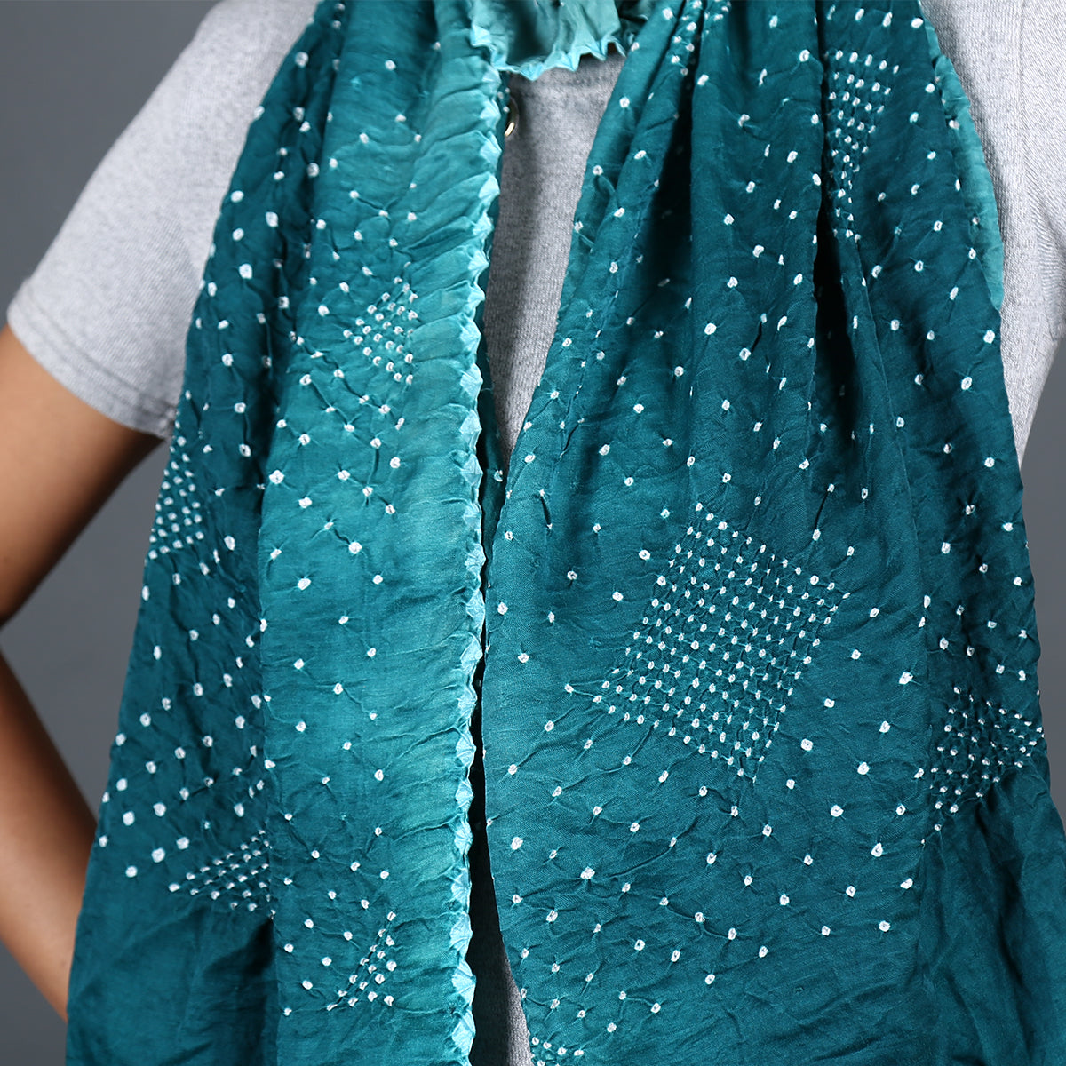 Green coloured Kutch Bandhni Stole in Gajji Silk with triangle design