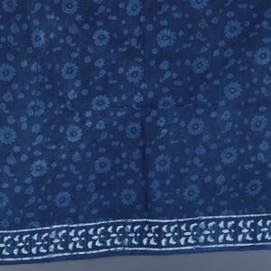 Dabu Hand Block Printed Indigo Cotton Saree with Blouse 31