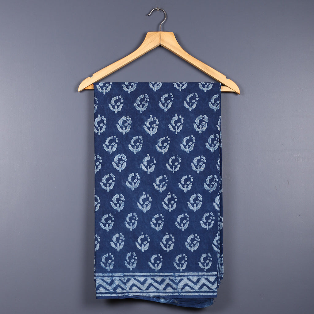 Dabu Hand Block Printed Indigo Cotton Saree with Blouse 18