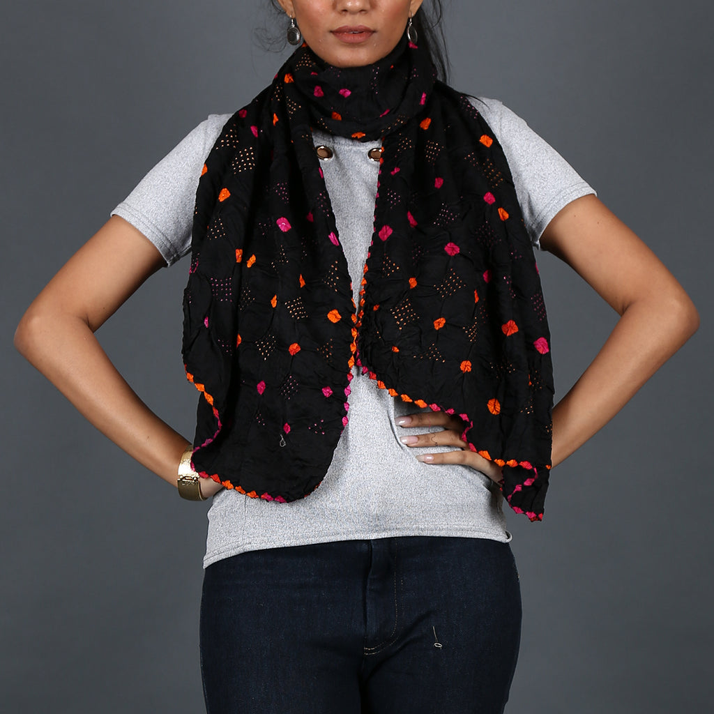 Black coloured Kutch Bandhni Stole in Gajji Silk with pink orange dots