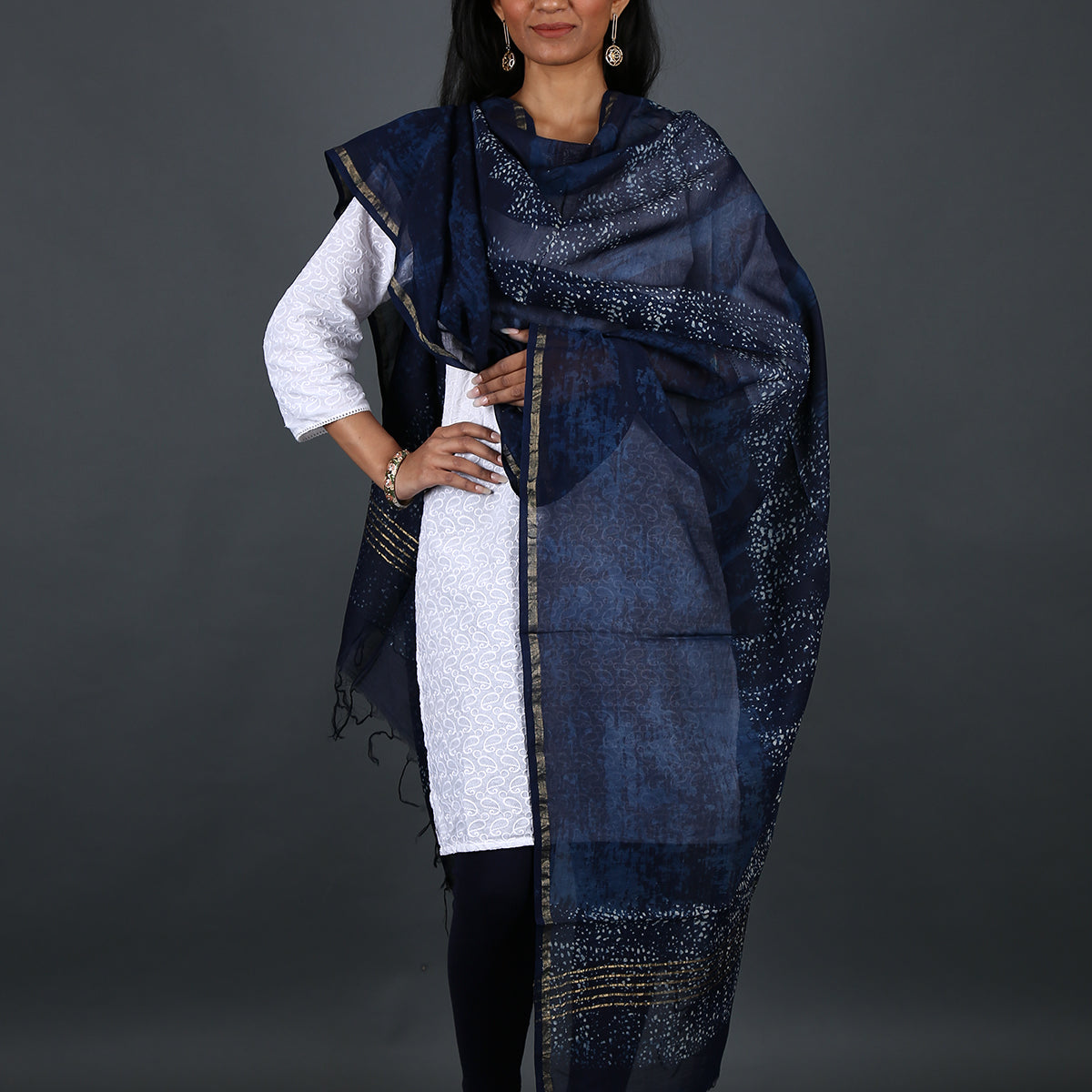 Indigo Dyed Hand Block Printed Dabu Dupatta in Chanderi Cotton Silk 3