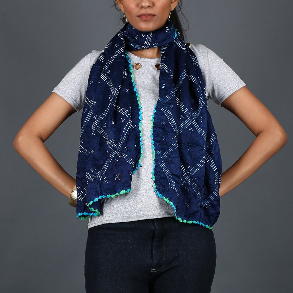 Indigo coloured Kutch Bandhni Stole in Gajji Silk with kite design
