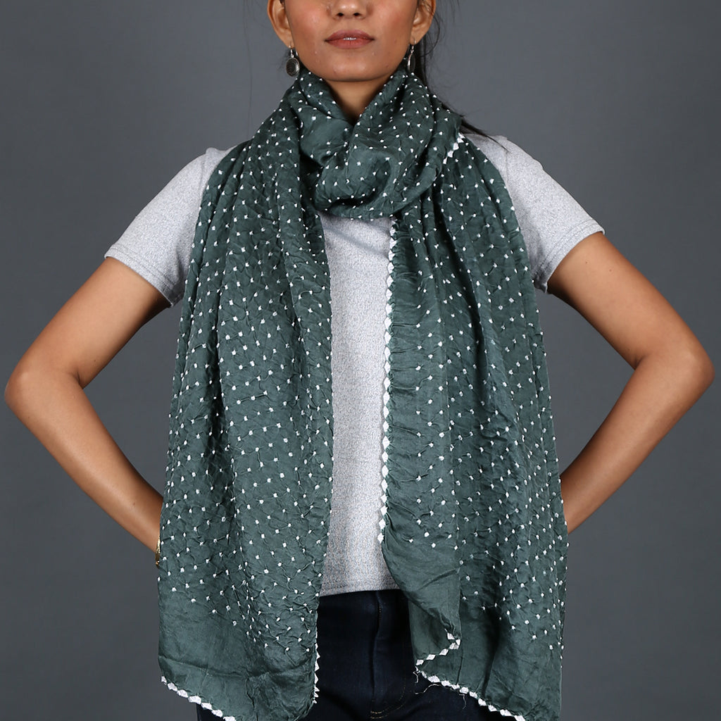 Khaki grey coloured Kutch Bandhni Stole in Gajji Silk