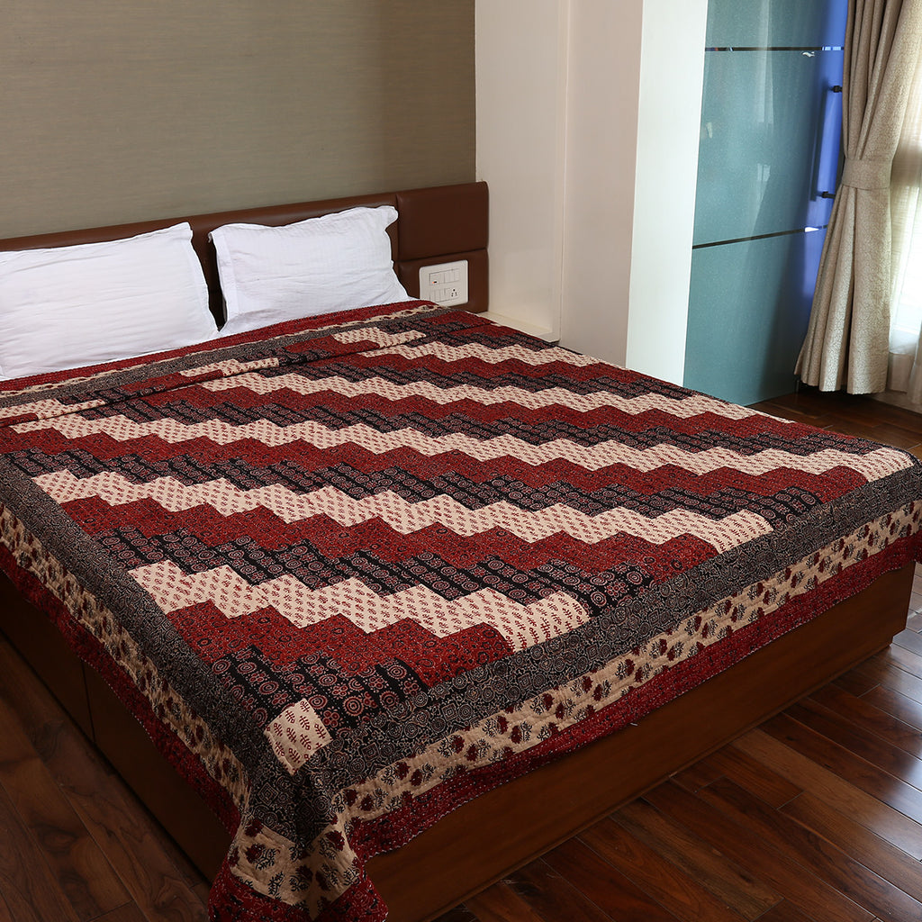 Dual Side Ajrakh Patchwork Hand Block Printed Cotton Quilt with Kantha Work 3