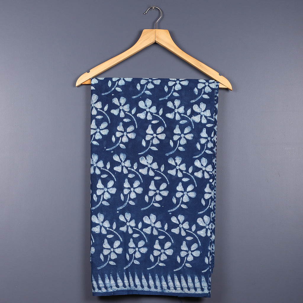 Dabu Hand Block Printed Indigo Cotton Saree with Blouse 20