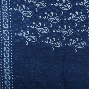 Dabu Hand Block Printed Indigo Cotton Saree with Blouse 32