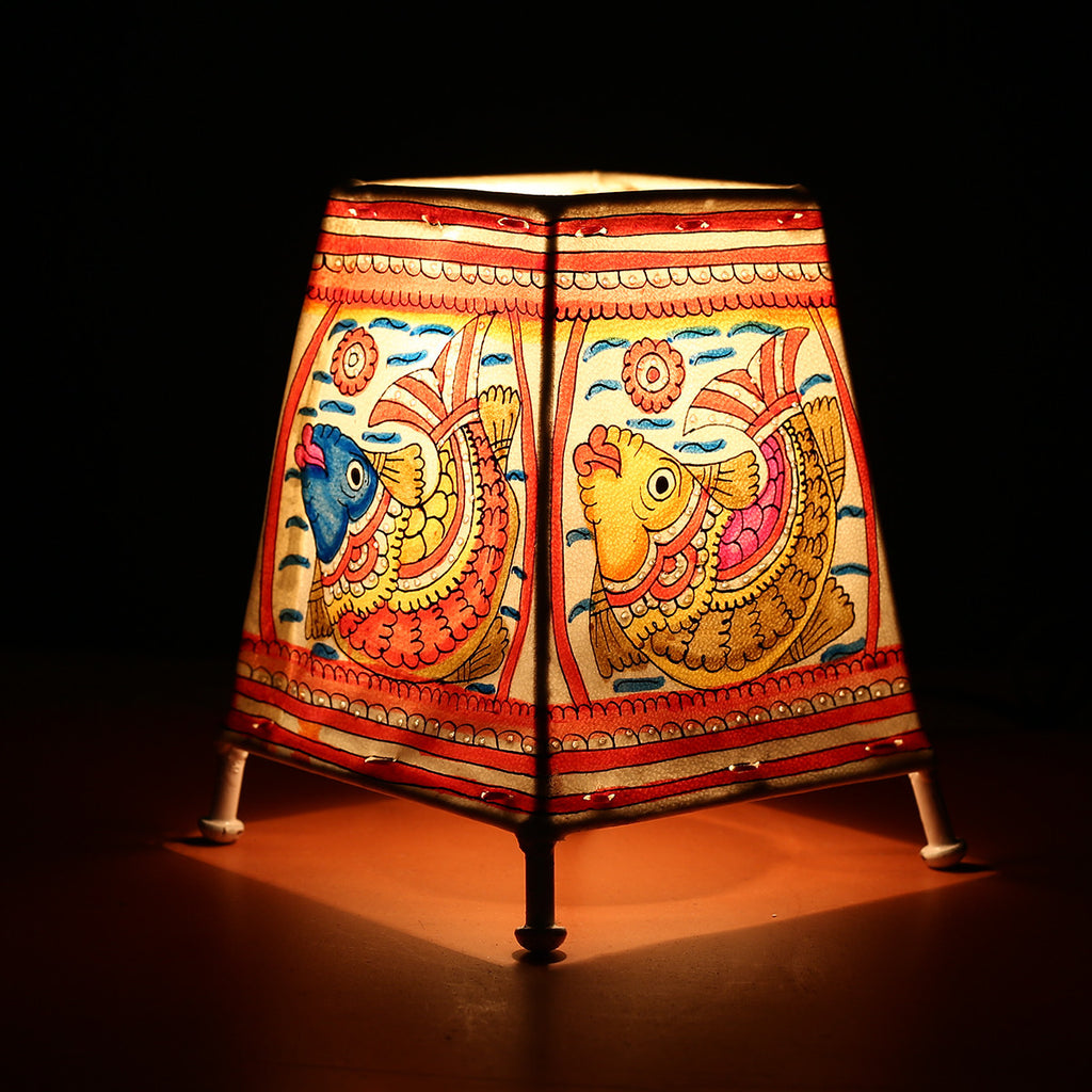 Andhra Pradesh Leather Lamp with Fish Design 2