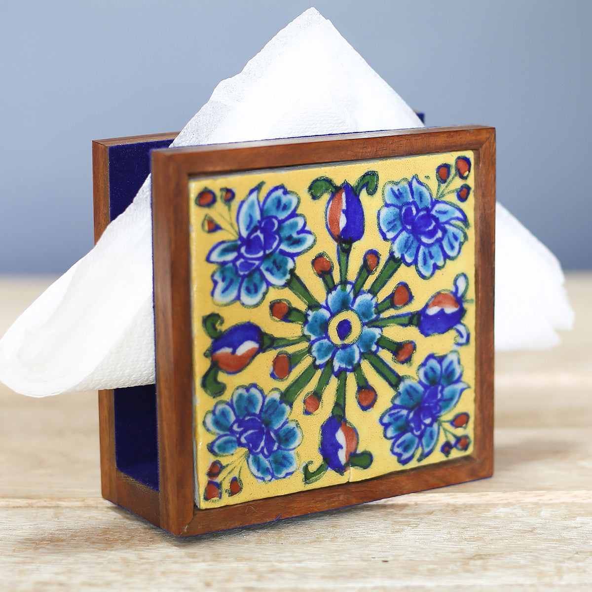 Jaipur Blue Pottery Tissue Paper Holder in Blue Floral Design