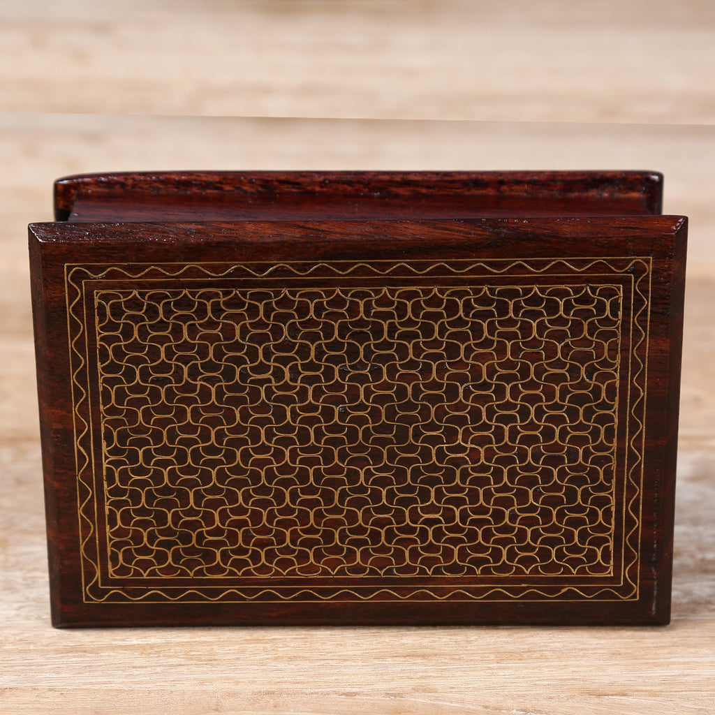 Wooden Box with Brass Metal Inlay Work with scale design