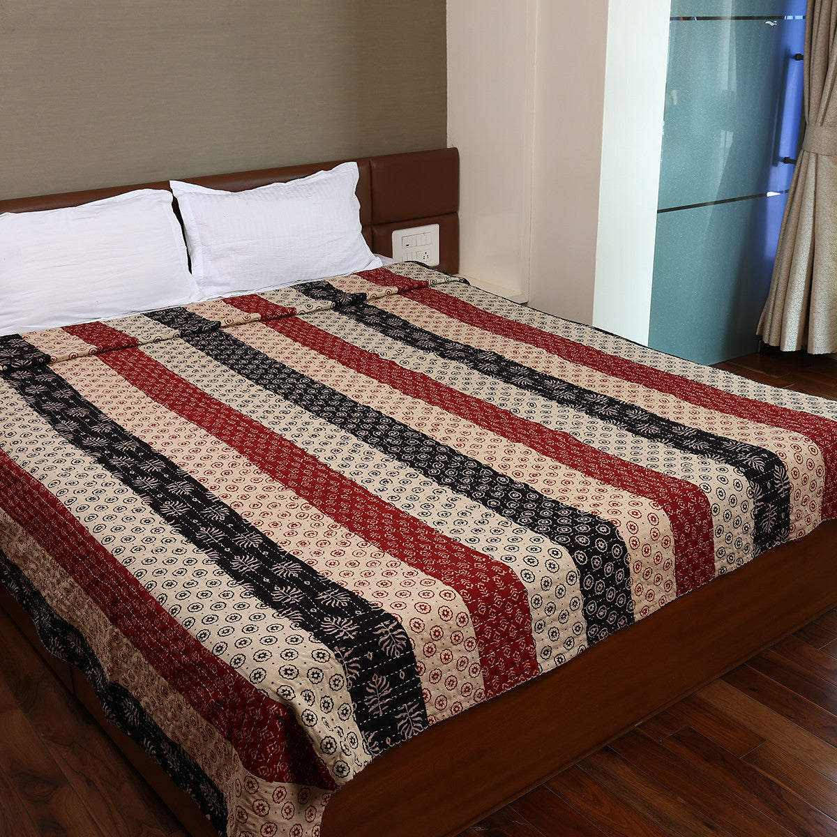 Dual Side Ajrakh Patchwork Hand Block Printed Cotton Quilt with Kantha Work 2