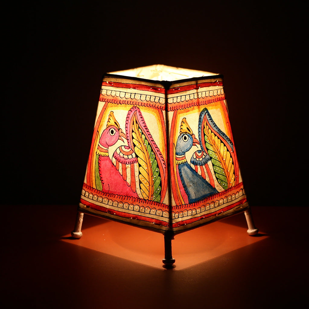 Andhra Pradesh Leather Lamp with Peacock Design 3