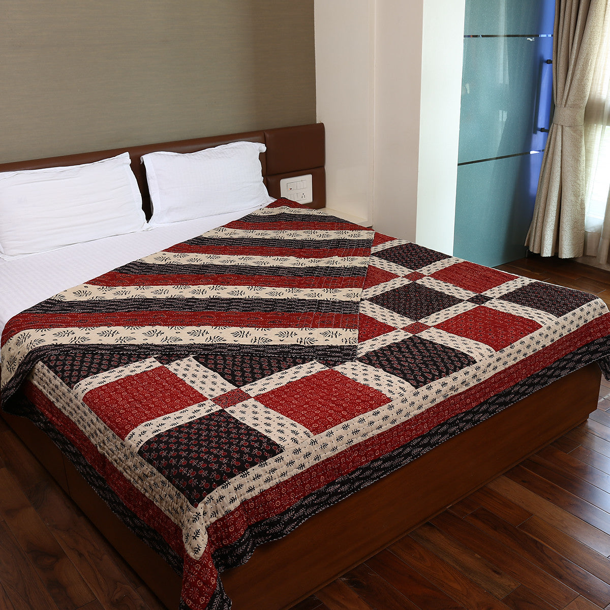 Dual Side Ajrakh Patchwork Hand Block Printed Cotton Quilt with Kantha Work 1
