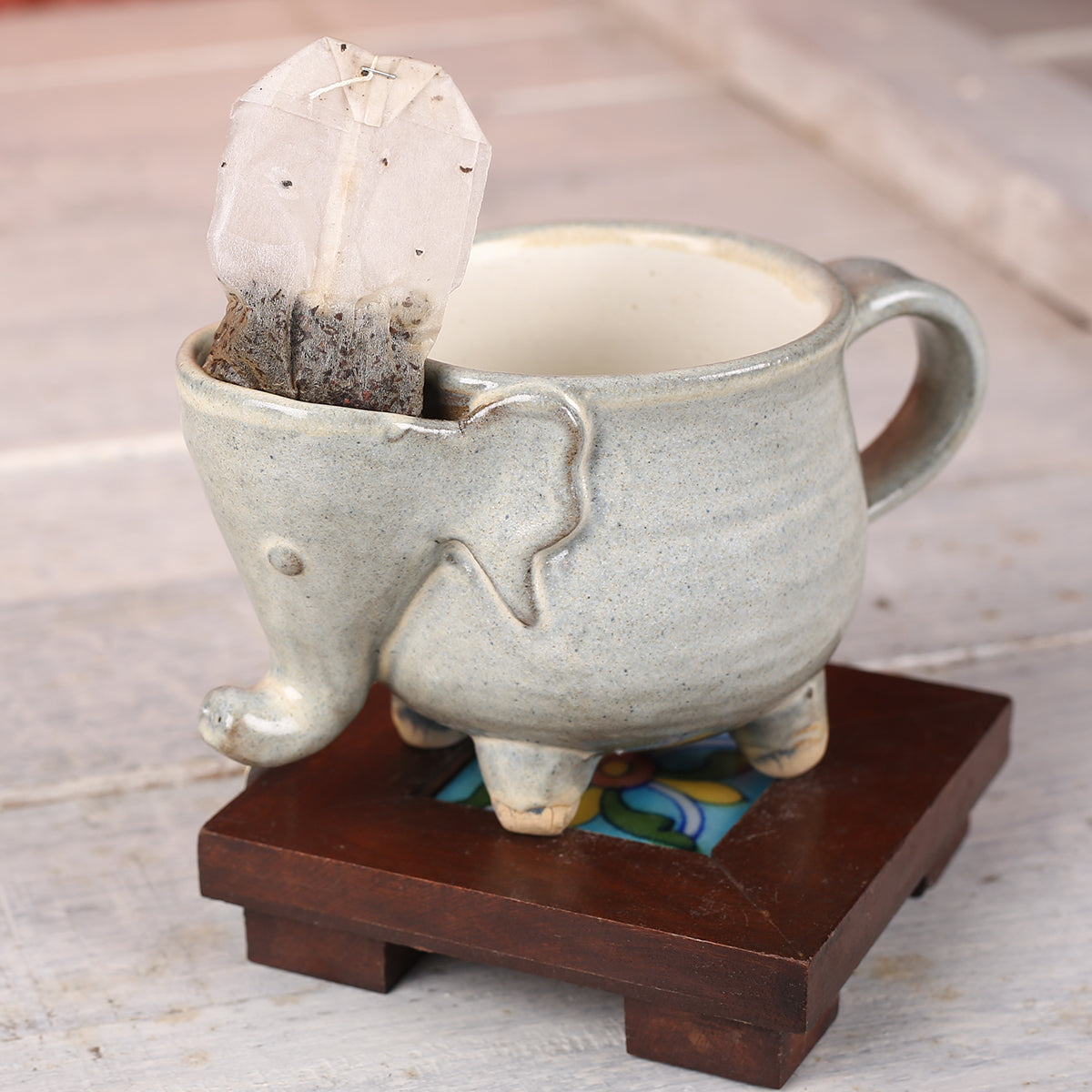 Grey Elephant Handmade Ceramic Cup from Auroville