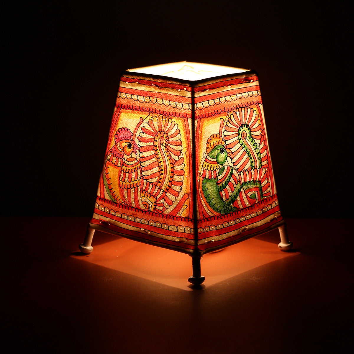 Andhra Pradesh Leather Lamp with Peacock Design 2