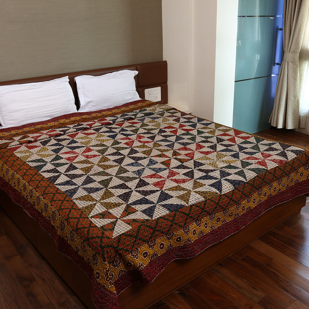 Dual Side Ajrakh Patchwork Hand Block Printed Cotton Quilt with Kantha Work 6