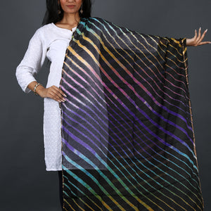 Black Coloured Jaipur Leheriya Dupatta in Kota Silk