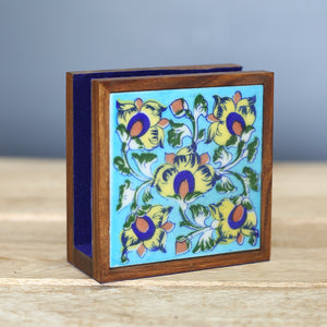 Jaipur Blue Pottery Tissue Paper Holder with Yellow Flower Design