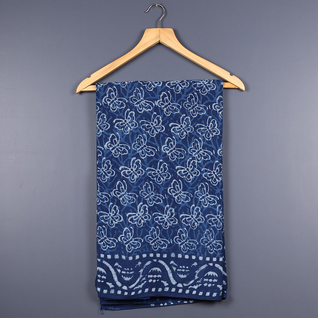 Dabu Hand Block Printed Indigo Cotton Saree with Blouse 6