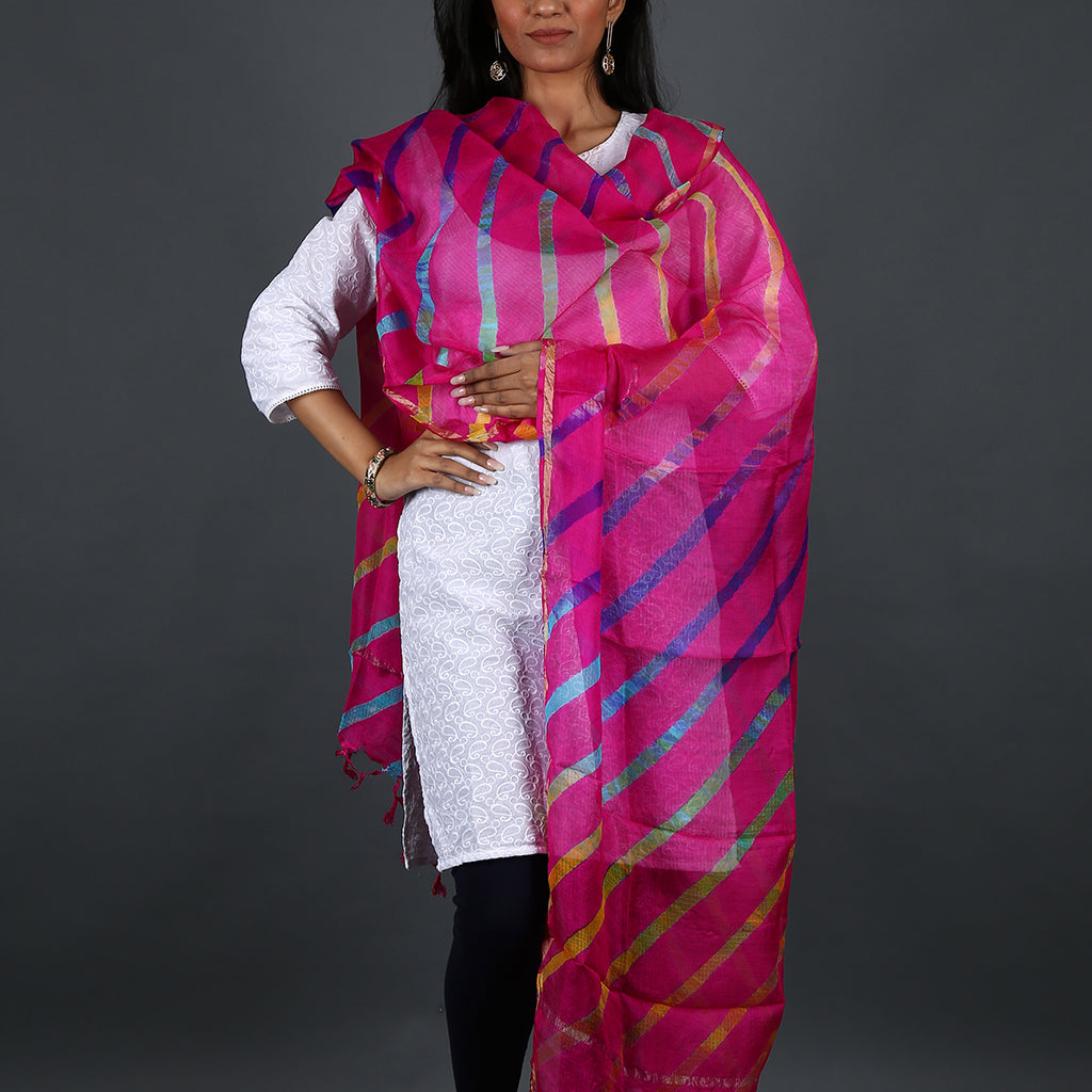 Magenta Coloured Jaipur Leheriya Dupatta in Kota Silk